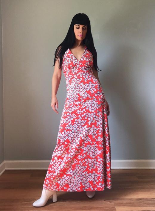 vintage 70s JANTZEN floral print halter maxi dress | beach cover-up swim dress by LosGitanosVintage
