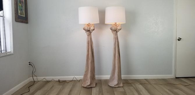 John Dickinson Style Sculptural Draped Plaster Floor Lamps A Pair . by MIAMIVINTAGEDECOR