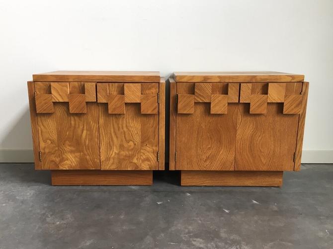 pair of vintage mid century brutalist nightstands by Lane.