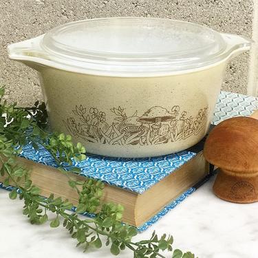 Vintage Pyrex Casserole Retro 1980s Forest Fancies + #474-B + 1.5 Liter + Mushrooms + Toadstools + Ceramic + Glass Cookware + Kitchen Decor by RetrospectVintage215