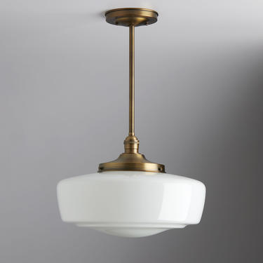 "Mid century modern - pendant lighting - hand blown glass - ceiling fixture - brass light - ceiling light - 14"" Chandelier by OldeBrickLighting"