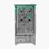 Chinese Distressed Light Blue Relief Carving  Armoire Storage Cabinet cs5417S
