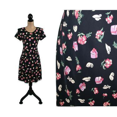 90s Rayon Floral Midi Dress, Hat Print Novelty Short Sleeve A-Line Shoulder Pads, Petite Clothes Women Vintage Clothing 1990s Jessica Howard by MagpieandOtis