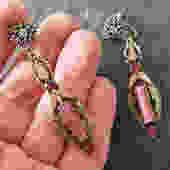 Art Deco Pink Glass Enamel Drop Earrings by LegendaryBeast