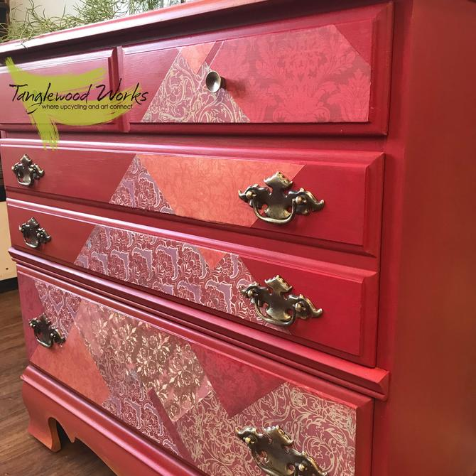 Upcycled Rose Red Decoupaged Side Table/ Dresser