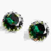 Mid Century Large Dark Green Glass Rhinestone Button Clip ons by LegendaryBeast