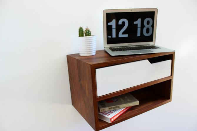 "Floating Nightstand, with Shelf, walnut hardwood 20"" L by ImagoFurniture"
