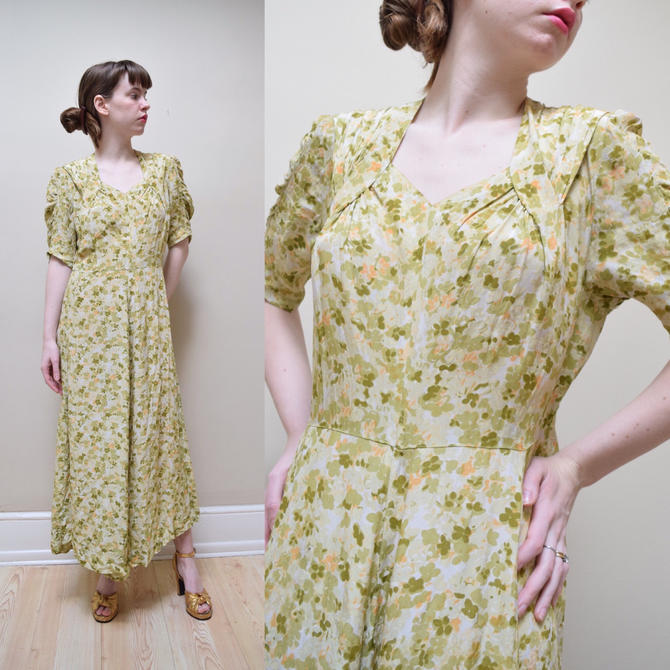 30s 40s Green Silk Rayon Crepe Spring Clover Dress // Deco Printed ...