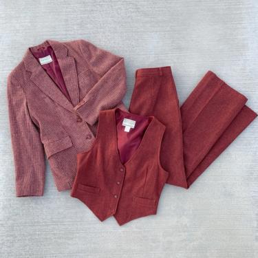 Vintage 1970's Marsala Blazer, Vest Flared Pant Suit 3-Piece Set by CottontailTrdPost