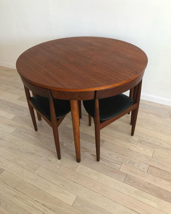 Danish Mid Century Hans Olsen For Frem Rojle Compact Dining Table Set