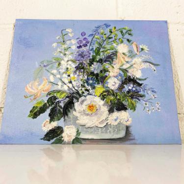 Vintage Amateur Floral Art 1960s 60s Painted Painting Artist Painter Original Bouquet Flowers Canvas Board Flower Still Life by CheckEngineVintage