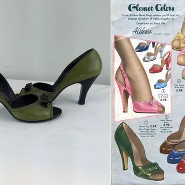 Pin Up Power - Vintage 1940s 1950s Juniper Green & Black Leather D'Orsay Open Toe Pumps Heels - 9 by RoadsLessTravelled2