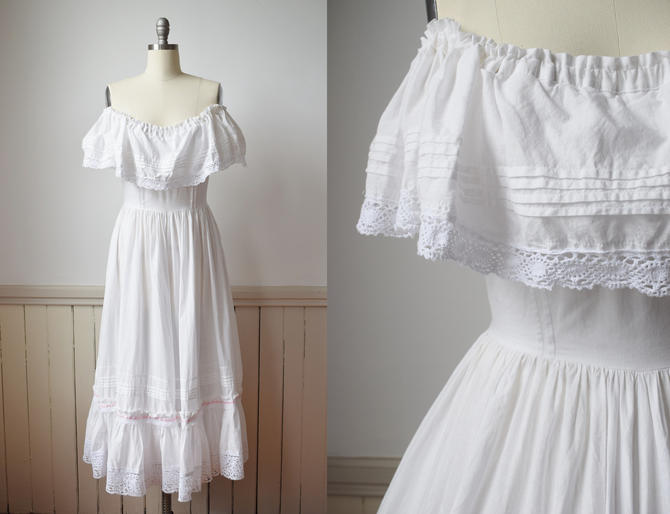 1980s Laura Ashley White Cotton Gown | Off the Shoulder Sleeves, Full Ruffle Skirt | Vintage  Bridal Gown | M by wemcgee