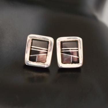 Vintage BG Mudd 925 silver onyx abalone Southwestern stud earrings, B Joe handcrafted sterling stone inlay rectangle posts by BetseysBeauties