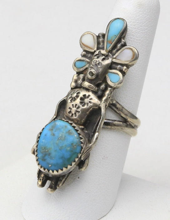 Vintage Johnny Blue Jay Hopi Kachina Silver Turquoise MOP Ring Sz 7.75 Signed by HouseofVintageOnline