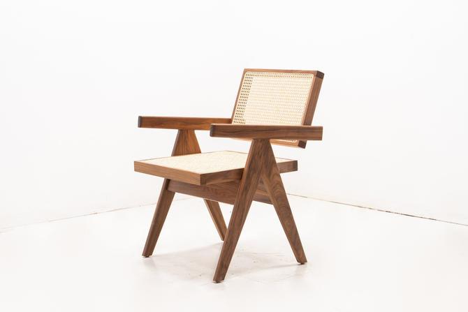 Jeanneret Style Walnut Caned Chair by WestCoastModernLA