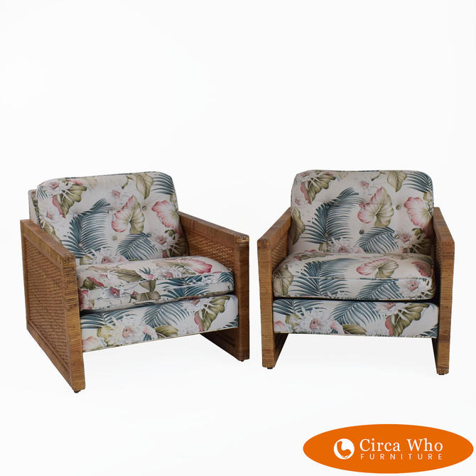 Pair of Rattan Wrapped Lounge Chairs