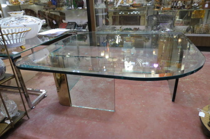 Vintage MCM Large glass coffee table