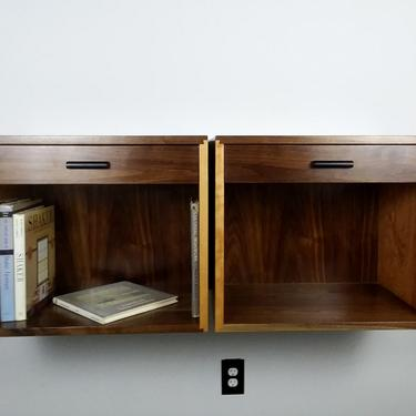 Single custom floating nightstand in contrasting species walnut and cherry please request shipping quote by GRWoodworker