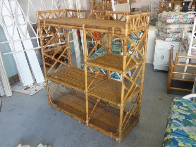 Island Style Rattan Chippendale Shelving Unit