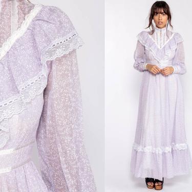 Gunne Sax Dress 70s Maxi Prairie FLORAL Bohemian Lace Ruffle Bib Lavender Purple 1970s Boho Hippie Calico Print Tiered Extra Small xs by ShopExile