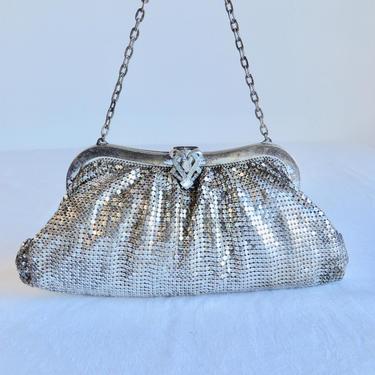 Vintage Art Deco Style Silver Metal Mesh Evening Purse Clutch Bag Rhinestone Clasp Wrist Chain Handle Whiting & Davis by seekcollect