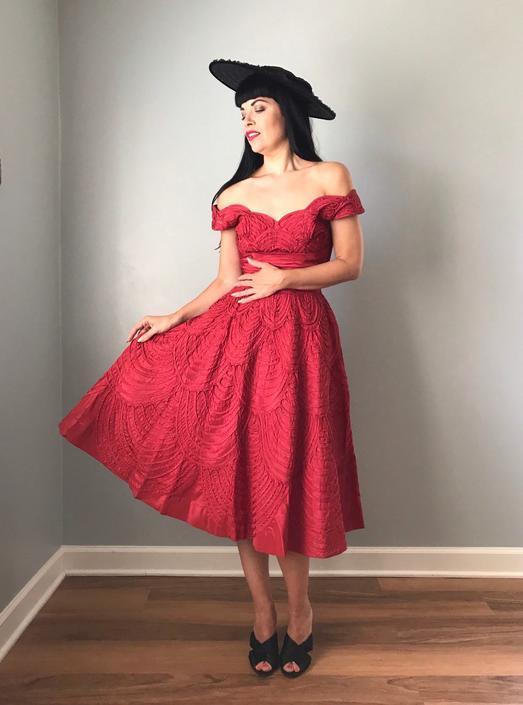 Vintage 50s Ceil Chapman Scarlet Red Fit and Flare Dress by SpeakVintageDC