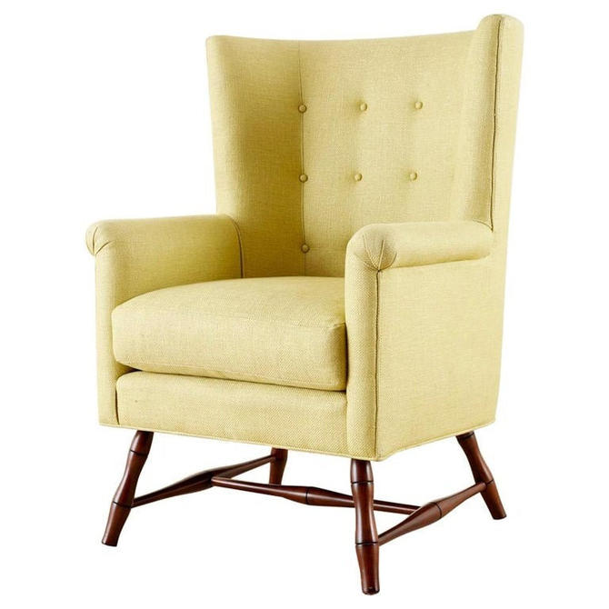Westcott Citron Linen Wing Chair by Bunny Williams by ErinLaneEstate