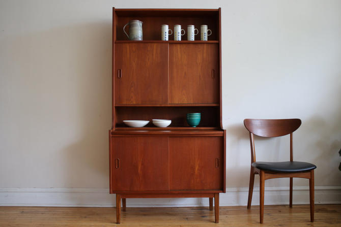 Mid Century Danish Modern Teak Hutch with Hideaway Desk by SharkGravy