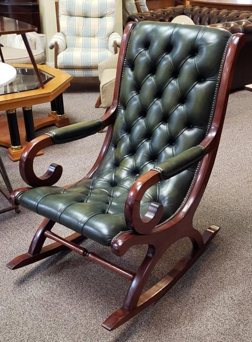 Item #R63 Mahogany & Leather Button Back Rocking Chair c.1920s