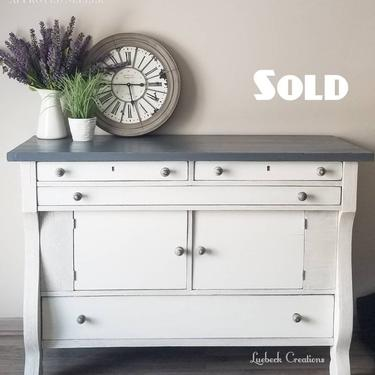 SOLD Oak Empire Buffet. Vintage Sideboard Server. Painted Antique Credenza. Dining Room Storage. Kitchen Cabinet. White Media TV Console by LuebeckCreations