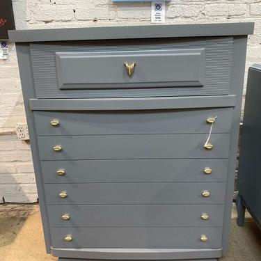 """Grey MCM chest of drawers, 34.5"""" x 20"""" x 43"""" H"""