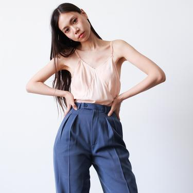 vintage 1980s yves saint laurent blue wool high waist pants by blossomvintageshop