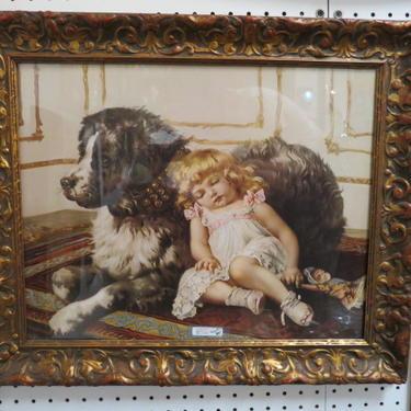 SALE! Antique Victorian print in gesso frame