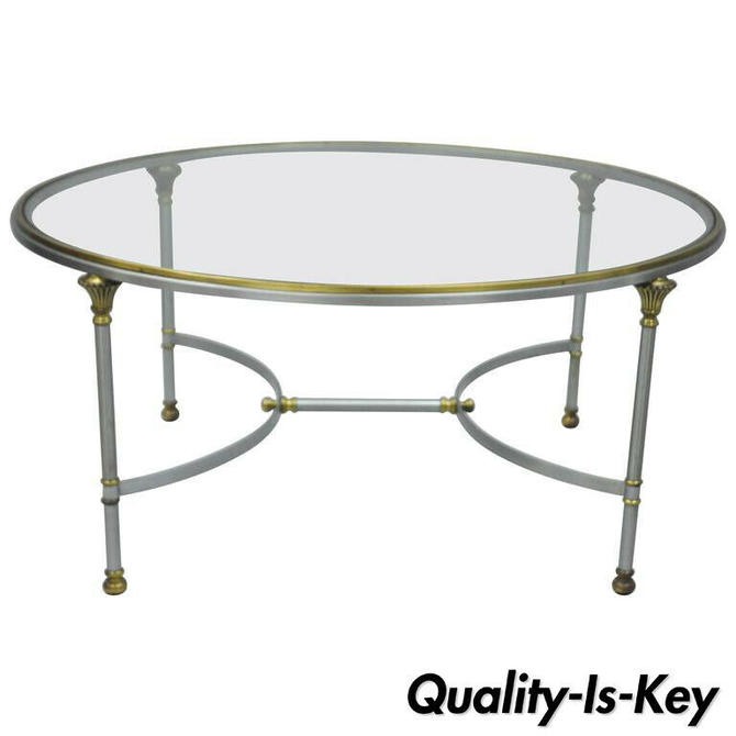 Italian Steel & Brass Round Directoire Neoclassical Coffee Table after Jansen