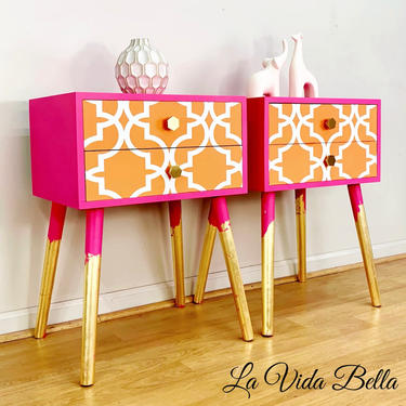 Bold & Sassy MCM Tables, Nightstands, End Tables, Mid Century Modern, Pink, Orange by LaVidaBellaDesign