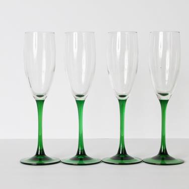 Luminarc Glassware, Green Glassware, Vintage Glassware, Champagne Glasses, Champagne Glassware, Green Glasses, Made in France, Set of 4 by 1882BlueVintage