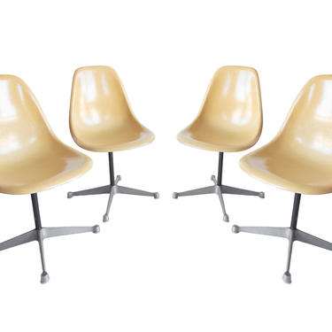 Set of 4 Vintage Eames Dinning chairs - Rare Summit Prime  ~ Eames swivel chairs ~ PSC base chairs ~ Charles & Ray Eames Herman Miller Gold by GoodWilson