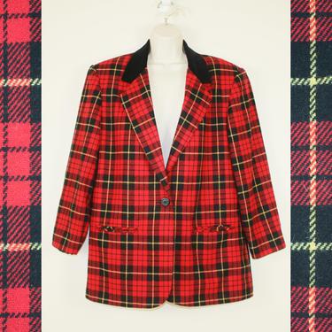 Vintage 80s / 90s Red Plaid Blazer Suit Jacket, Size Large / Extra Large / Plus Size by GuavaNectarVintage