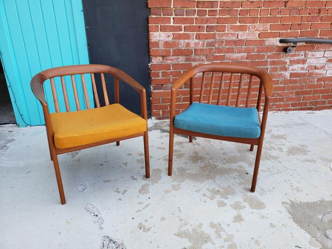 Pair of Mid-century Teak Side Chairs by Folke Ohlsson for Dux