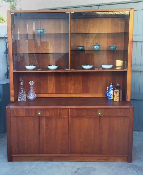 Vintage D Scan Captain Line teak china cabinet