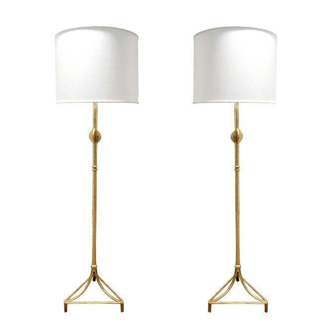 Pair of Custom Giacometti Style Gilded Floor Lamps 1970s