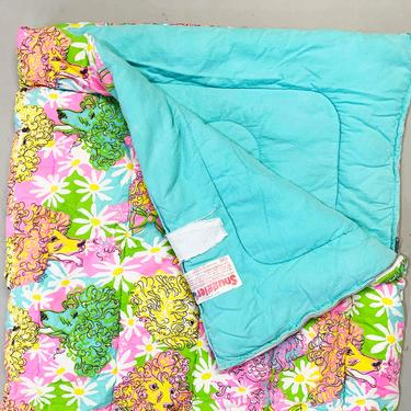Vintage Colorful Sleeping Bag Blanket Retro Throw 70s 1970s Kitschy Dog Print Poodle Rainbow Snuggler USA Camping Camper Camp Kid's Room by CheckEngineVintage