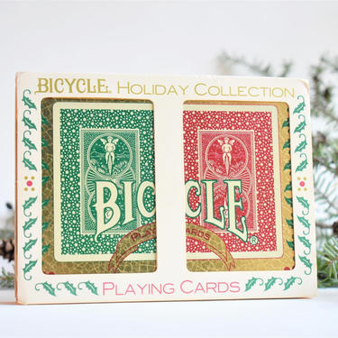 Vtg Bicycle Holiday Cards & Tin   Christmas Edition Collectible Playing Cards Gift Set by LostandFoundHandwrks