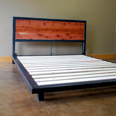 Kraftig Platform Bed with Tennesee Cedar Headboard by deliafurniture