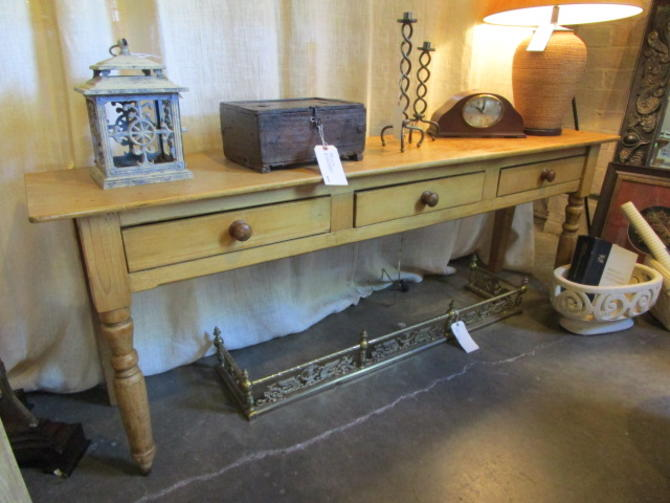 LONG RUSTIC PINE CONSOLE TABLE WITH THREE DRAWERS