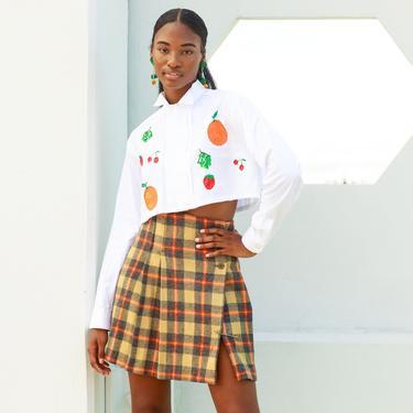 60s Plaid Brown Red Wool Skirt Vintage Checkered Pleated Kilt Mini Skirt by AppleBranchesVintage