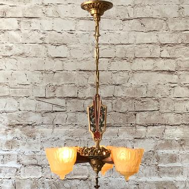 Lincoln Nile 3 Light Art Deco Chandelier #1901   FREE SHIPPING by vintagefilament