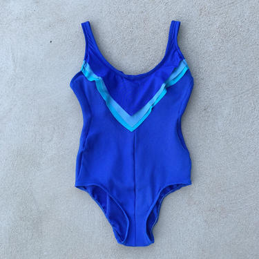 Vintage 60's 70's Bobby Len Swimfashions Made in USA Union Made Ruffle Ribbed BLue One Piece Bathing Suit Swimsuit Swimwear by CottontailTrdPost