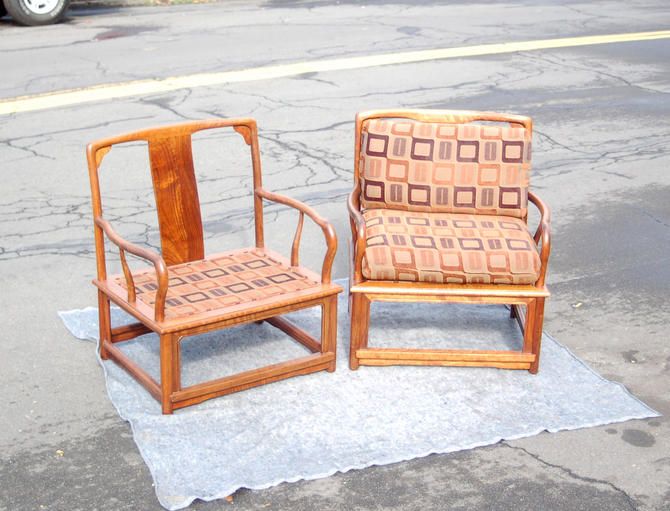 Pair of Marge Carson Bentwood Asian Meditation Chairs with Pillows / Cushions - 2 Marge Carson Wide Wood Chairs with Upholstered Cushions by YesterdayAndTomorrow
